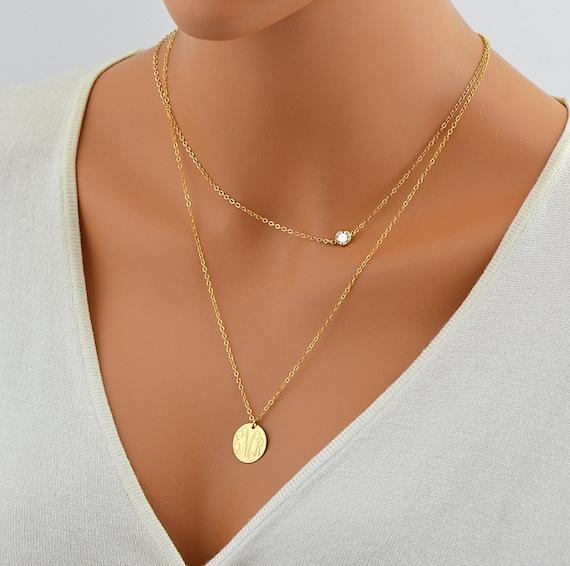 Cz Necklace Delicate Gold Necklace Tiny Diamond Necklace Etsy