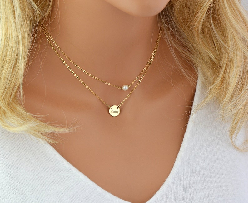 9c6812d46c19d Dainty Pearl Necklace, Single Pearl, Freshwater Pearl Necklace, Dainty Gold  Chain, 14k Gold Filled, Rose Gold Filled, Sterling Silver