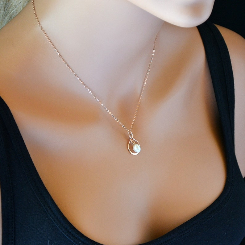 f0806d995ef8e Infinity Pearl Necklace Rose Gold 14k Gold Sterling Silver   Etsy