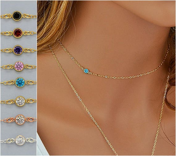 2fd2213889499 Birthstone Necklace, Dainty Choker Necklace, Birthstone Jewelry, Delicate  Layering Necklace Gold, Silver, Rose Gold, Tiny CZ Necklace Choker