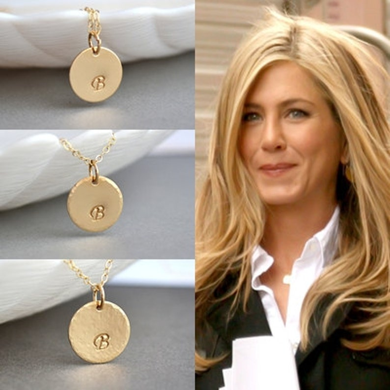 Hammered Disc Necklace Gold Initial Disc Necklace Gold image 1