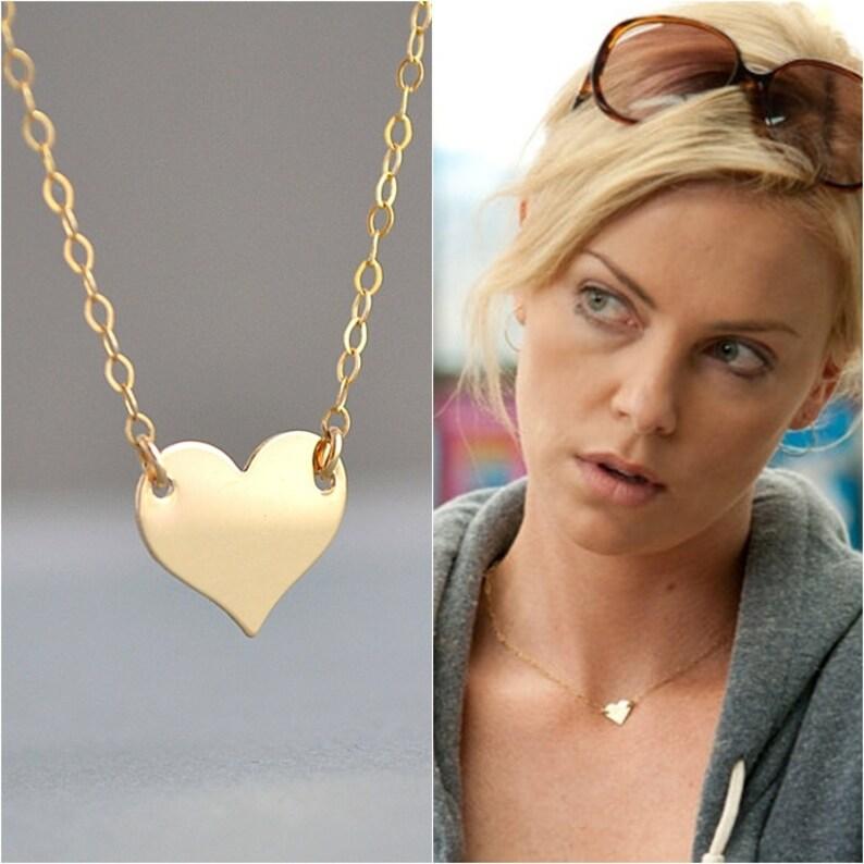 GOLD HEART NECKLACE Celebrity Necklace Minimal Necklace image 0