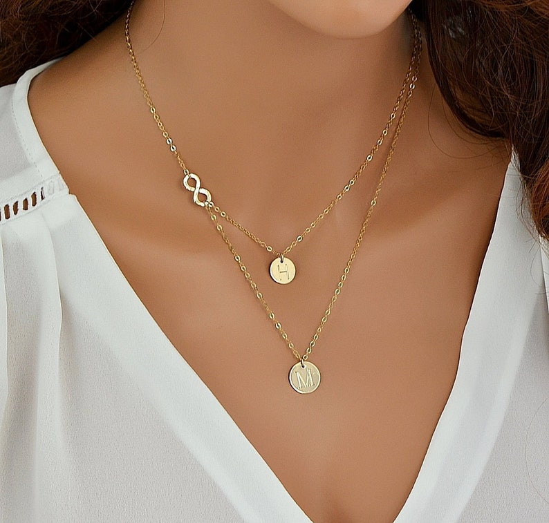 Delicate Layered Necklace Gold Infinity Necklace image 0