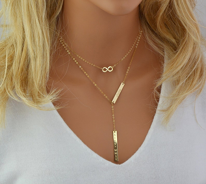 Gold Lariat Necklace Name Necklace Double Bar Necklace image 0