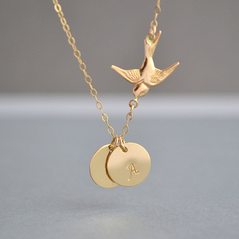 GOLD BIRD NECKLACE Two Initial Necklace Love Bird Family image 0