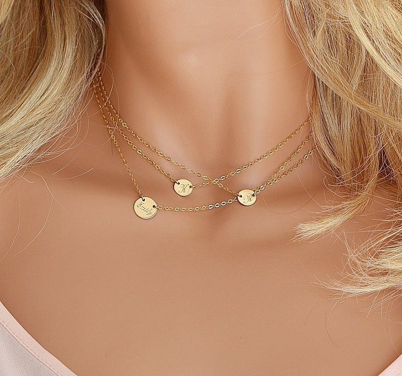 Dainty Layered Necklace Initial Disc Personalized Necklace image 0