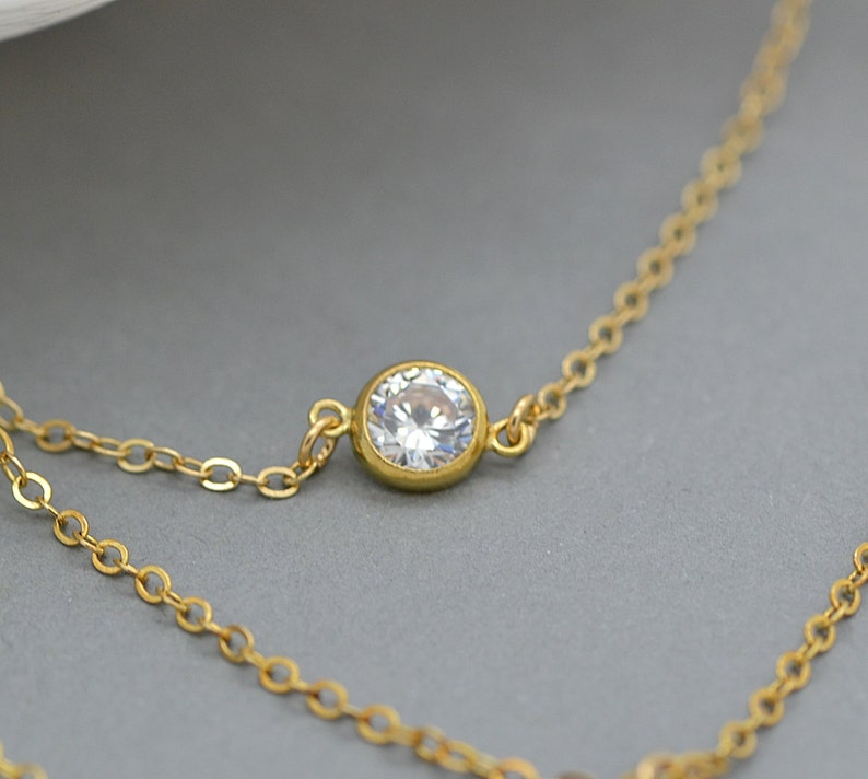 CZ Necklace Delicate Personalized Disc Layered Necklace Set Gold Layered Necklace Gold Diamond Necklace Minimal Necklace Gold