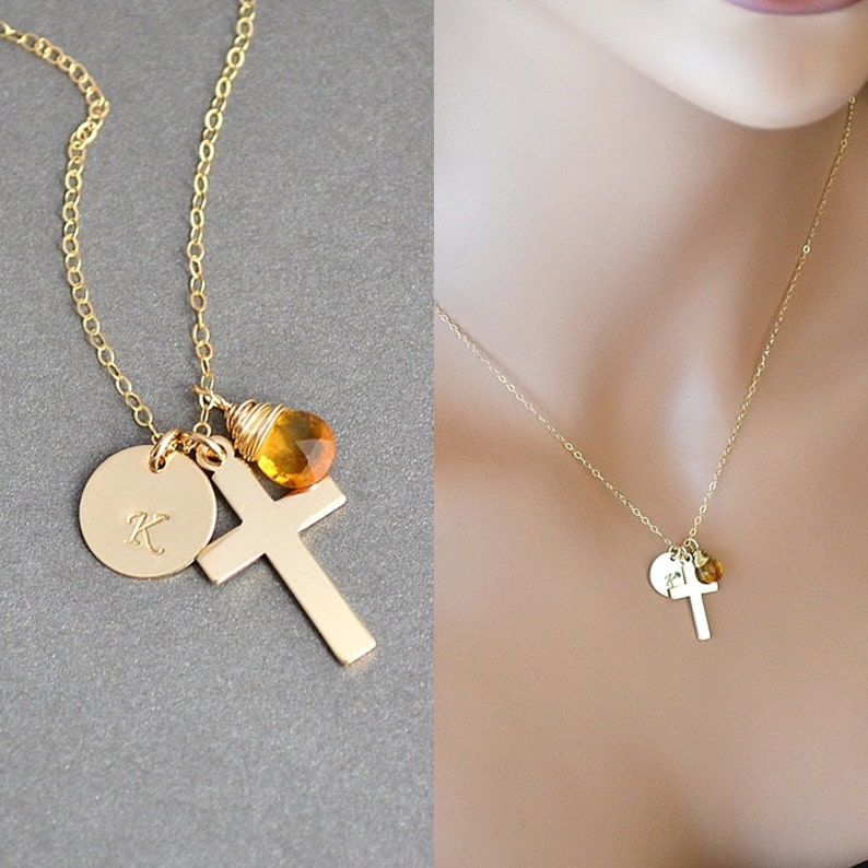 Initial Cross Necklace Jesus Necklace Crucifix Necklace image 0