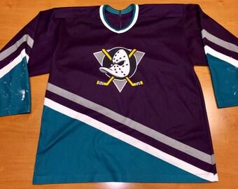 1c2e63867 Vintage 90s Anaheim Mighty Ducks Jersey Size XXL champions stanley cup  champs disney jean-sebastien giguere conway goldberg banks bombay