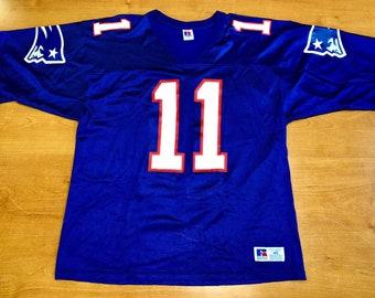 7b87c654e Vintage 1996 Drew Bledsoe New England Patriots Russell Jersey belichick  sweatshirt julian edelman adam vinatieri super bowl champions 48 52