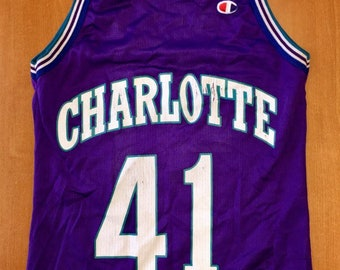 Vintage 1996 - 1998 Glen Rice Charlotte Hornets Champion Jersey Size 36  alonzo mourning michael jordan michigan wolverines new orleans nba f2bf3a1a6