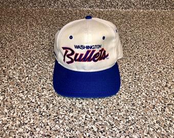 Vintage 1991 - 1996 Washington Bullets Sports Specialties Script Twill Hat  snapback jersey rasheed wallace michael jordan gilbert arenas nba 044203446