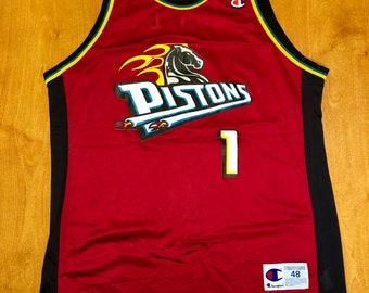 Vintage 1998 - 1999 Lindsey Hunter Detroit Pistons Champion Jersey Size 48  chauncey billups tayshaun prince rasheed ben wallace nba finals 489f3e0ba