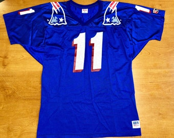 1a2d7bc90 Vintage 1995 Drew Bledsoe New England Patriots Russell Jersey belichick  sweatshirt julian edelman adam vinatieri super bowl champions 48 52