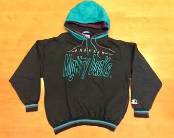 Vintage 90s Mighty Ducks Starter Sweatshirt hoodie kariya selanne hebert  rucchin mcinnis giguere snapback script jersey anaheim stanley cup 18309afd3