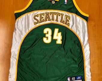 Vintage 1990s Ray Allen Seattle Supersonics Authentic Reebok Jersey Size 48  detlef schrempf nba finals sonics oklahoma city thunder champion 0e78e6393