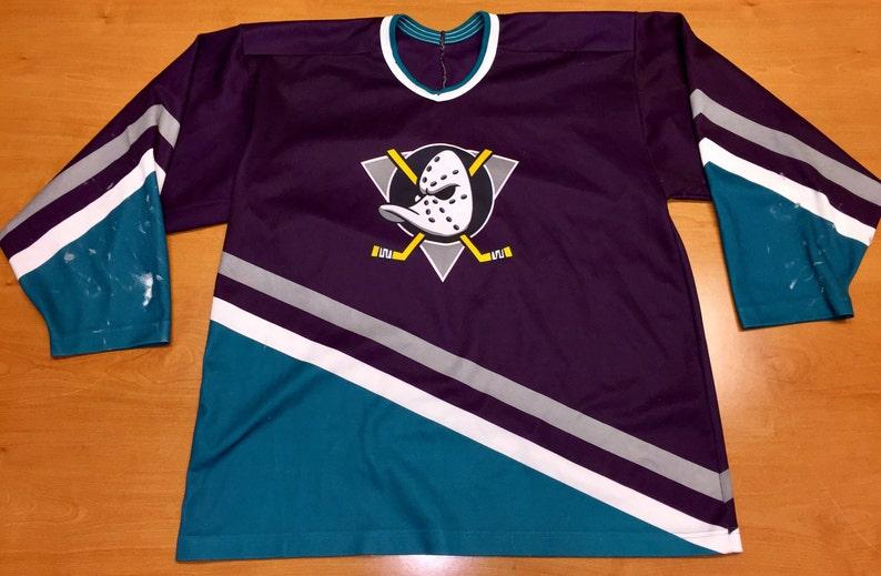 big sale 87482 910be Vintage 90s Anaheim Mighty Ducks Jersey Size XXL champions stanley cup  champs disney jean-sebastien giguere conway goldberg banks bombay