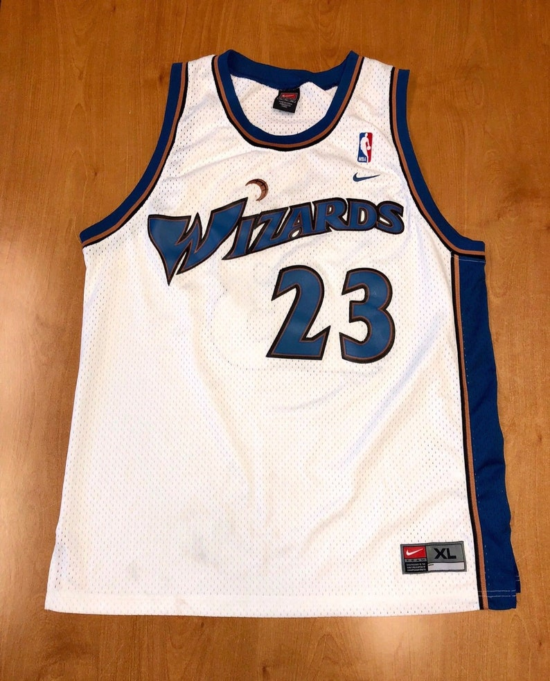 purchase cheap 5a664 66b6c Vintage 1990s Michael Jordan Washington Wizards Nike Swingman Jersey Size  XL bullets hat shirt jerry stackhouse rasheed wallace champion