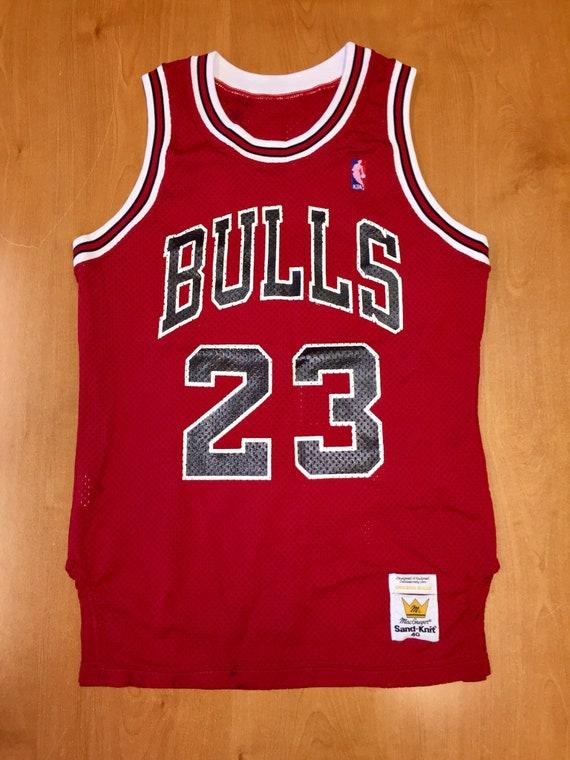 new products 23a33 5719e Vintage 1980s Michael Jordan Chicago Bulls Authentic Sand Knit Jersey Size  40 nba finals shirt scottie pippen air jumpman 45 36 44 champion