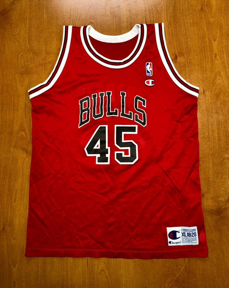 uk availability 911a2 0334e Vintage 1995 Michael Jordan Chicago Bulls 45 Champion Jersey Size Youth XL  40 nba finals hat shirt scottie pippen authentic air jumpman kids