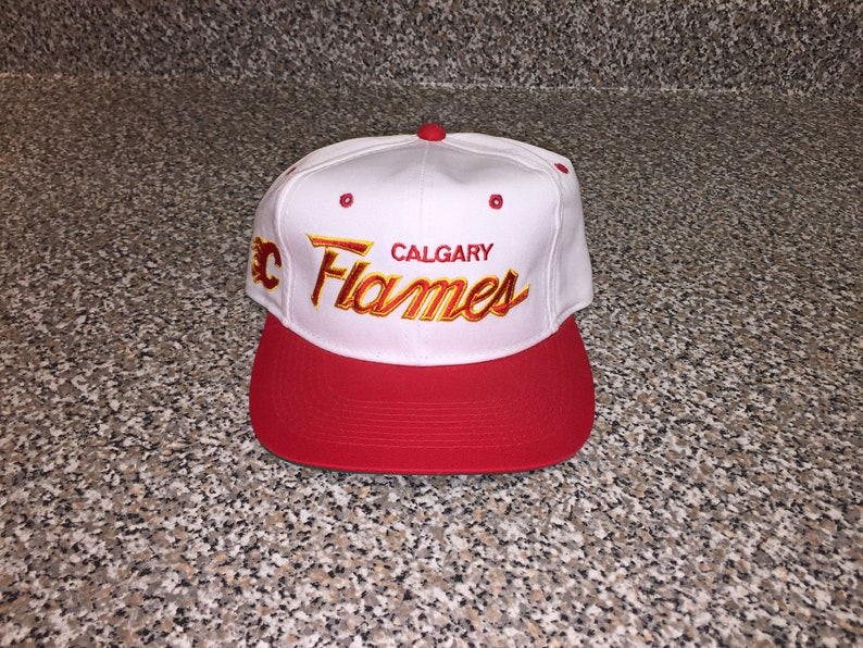 new product 634e4 be45e Vintage 90s Calgary Flames Sports Specialties Script Twill Hat   Etsy