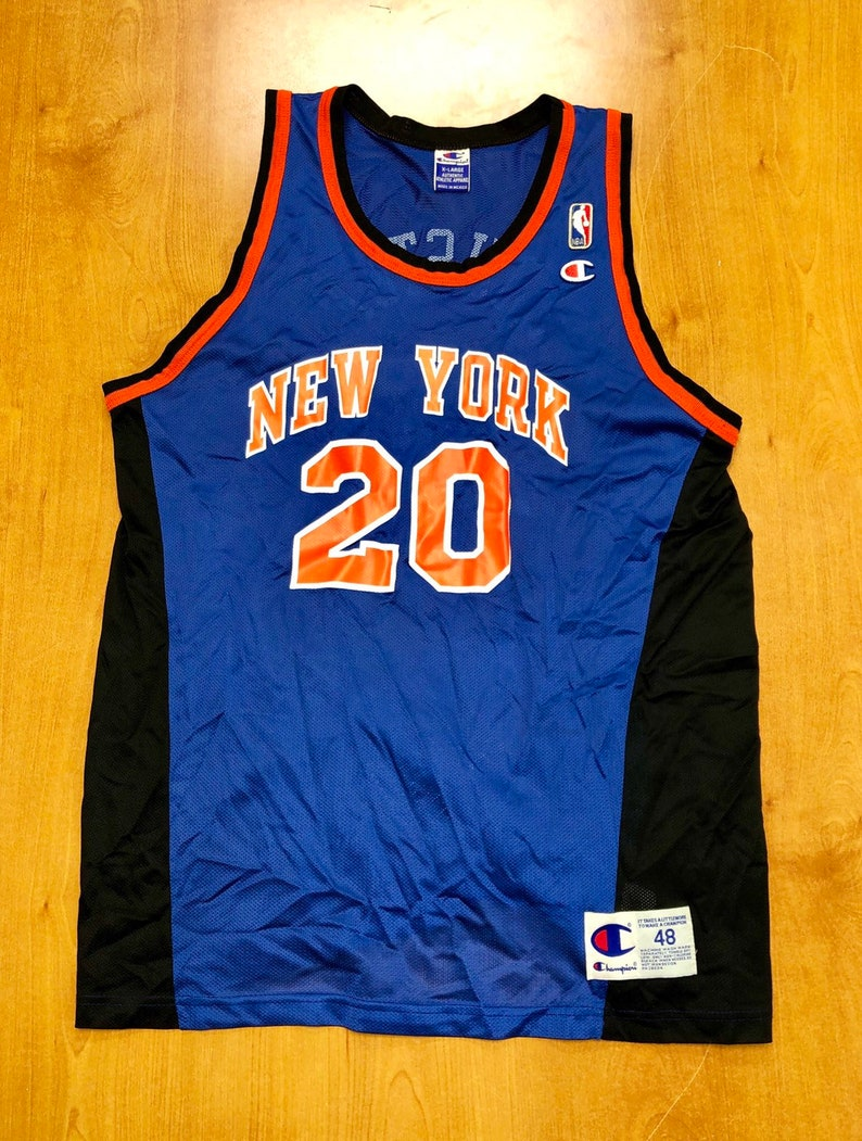 sports shoes 918a1 d976b Vintage 1998 Allan Houston New York Knicks Champion Jersey Size 48 hat  shirt charles oakley nba finals penny hardaway latrell sprewell