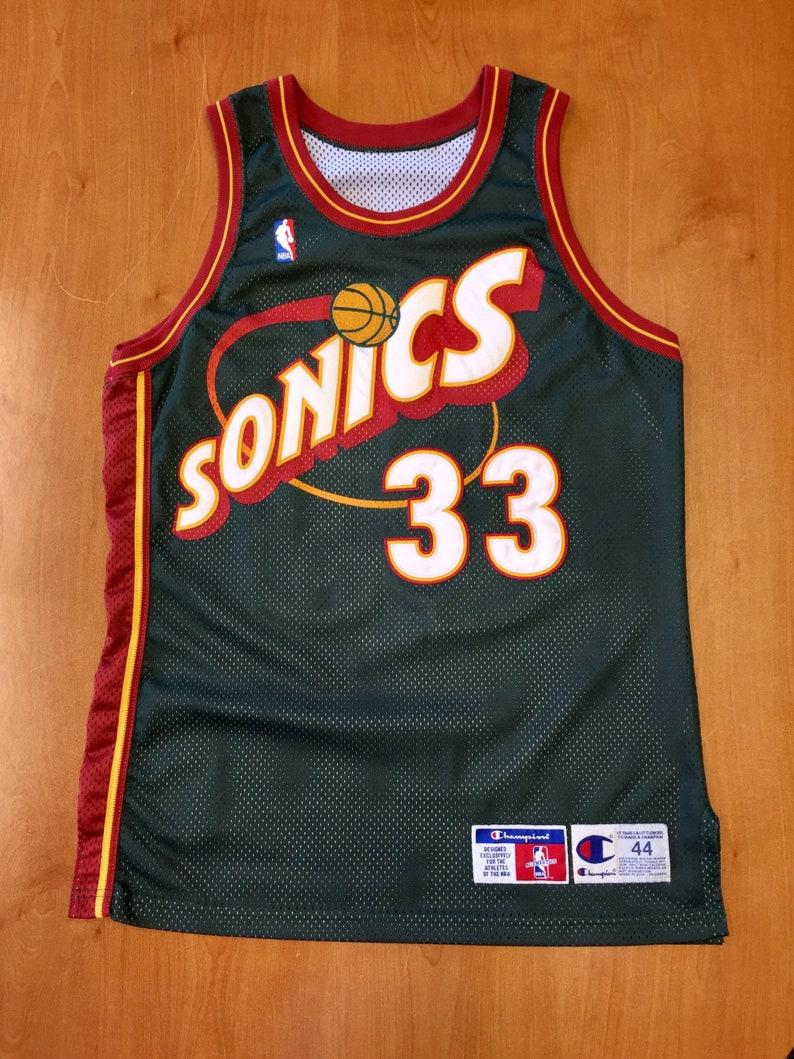 uk availability 46e03 3da56 Vintage 1990s Patrick Ewing Seattle Supersonics Authentic Champion Jersey  Size 44 detlef schrempf sonics oklahoma city thunder nba finals