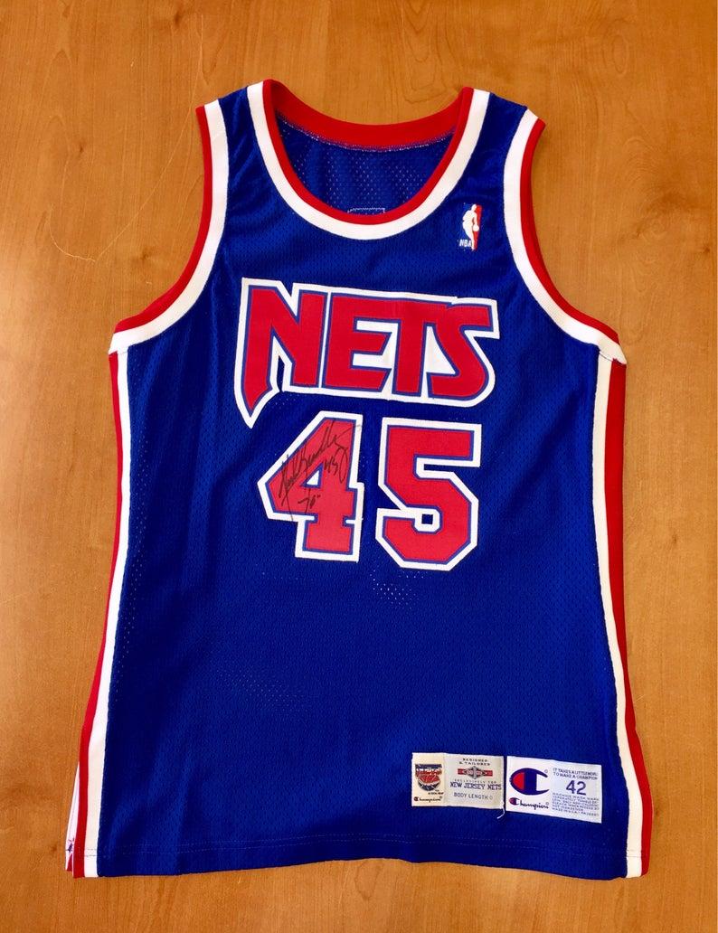 Vintage 1995 Shawn Bradley New Jersey Nets Champion Size 42 brooklyn drazen  petrovic richard jefferson kenny anderson sam cassell 40 44 nba b41c3b575