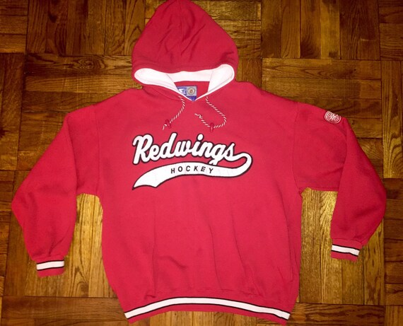 Vintage 90s Detroit Red Wings Starter Hoodie script crewneck  3a2f65ddb