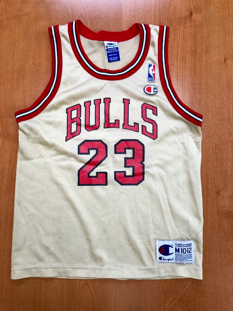 low priced 3d800 36090 Vintage 1998 Michael Jordan Chicago Bulls Champion Gold Jersey Size Youth  Medium nba finals hat shirt scottie pippen authentic air jumpman