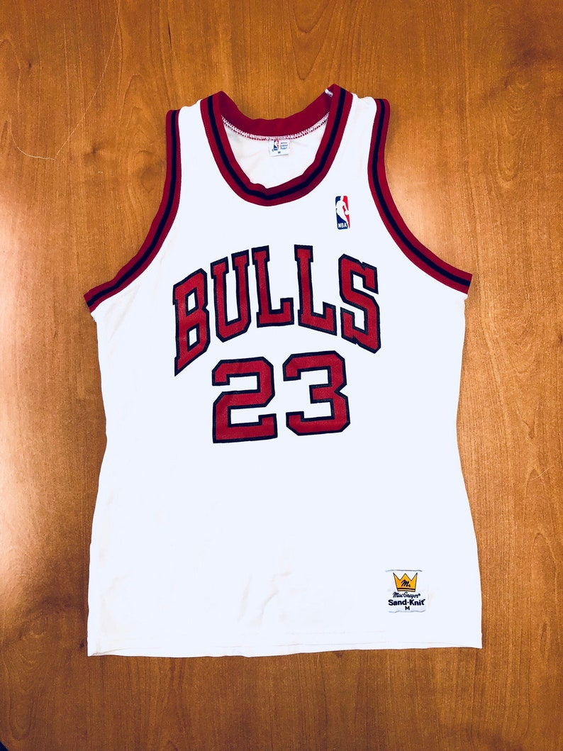 d841bf8fdb6 Vintage 1980s Michael Jordan Chicago Bulls Sand Knit Jersey | Etsy