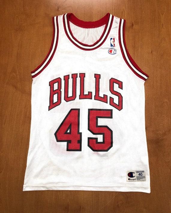 cheaper e736c 3df1e Vintage 1995 Michael Jordan Chicago Bulls 45 Champion Jersey Size 40 nba  finals hat shirt scottie pippen authentic air jumpman