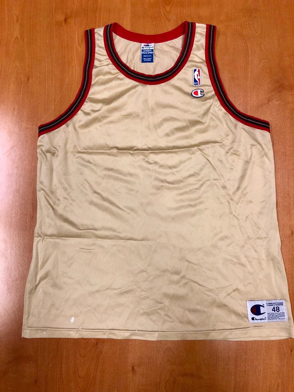 Vintage 1998 Philadelphia 76ers Blank Champion Gold Jersey  c24f7e7b6