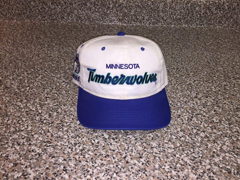 1d732c09e9c6 Vintage 90s Minnesota Timberwolves Script Hat snapback jersey