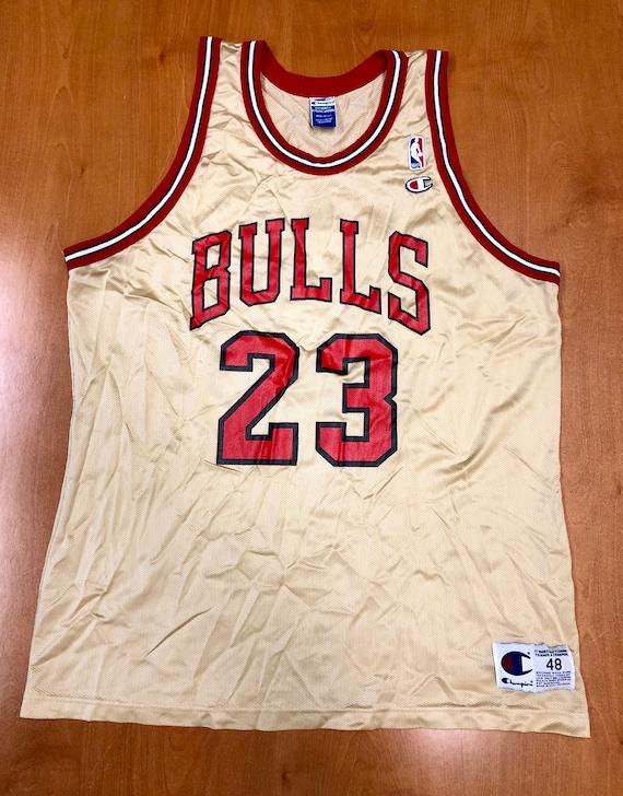 newest 91e2d b25a1 Vintage 1998 Michael Jordan Chicago Bulls Champion Gold Jersey Size 48 nba  finals hat shirt scottie pippen authentic air jumpman 45