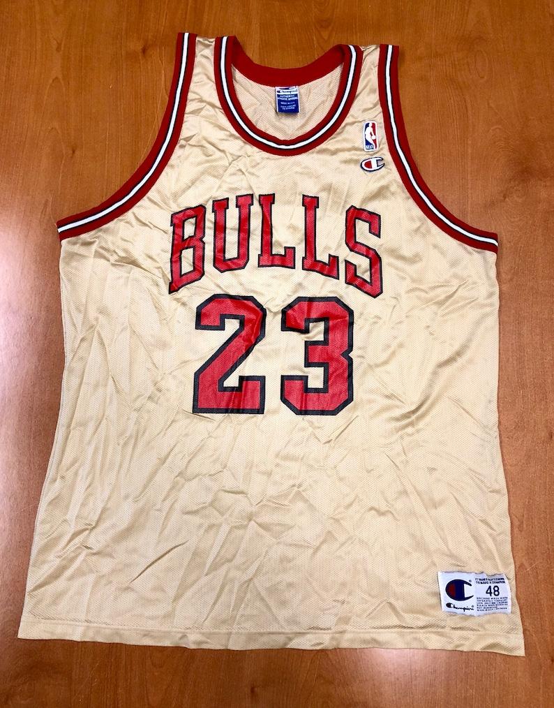e1d813b6a38 Vintage 1998 Michael Jordan Chicago Bulls Champion Gold Jersey | Etsy