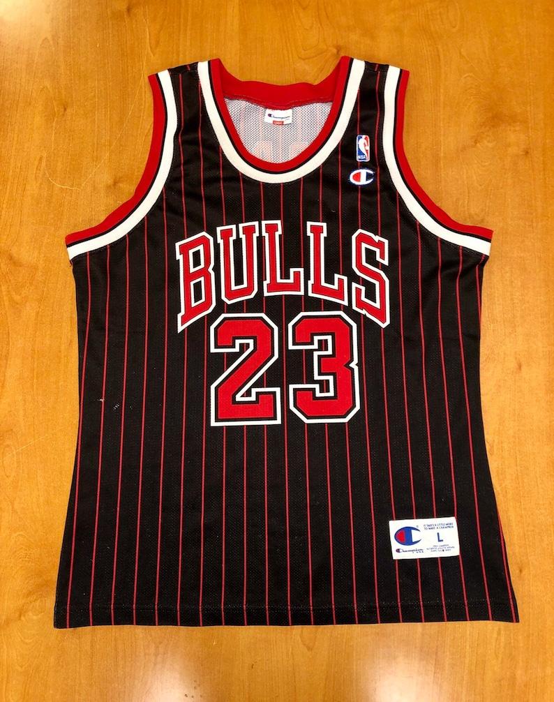 wholesale dealer 7f937 d90bd Vintage 1996 Michael Jordan Chicago Bulls Champion Jersey Size Large nba  finals hat shirt scottie pippen authentic air jumpman gold 45 44 48