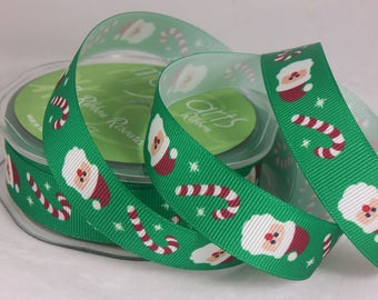 3/4 Inch Grosgrain Santa and Candy Cane Ribbon