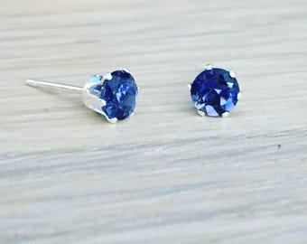 4mm Iolite gemstone stud earrings - sterling silver