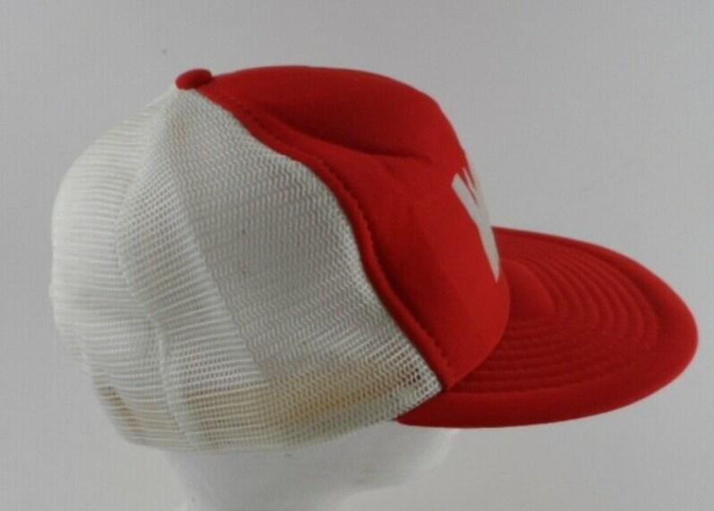 WS Block Letter Mesh Trucker Snapback Hat Foam Red White Vintage Streetwear