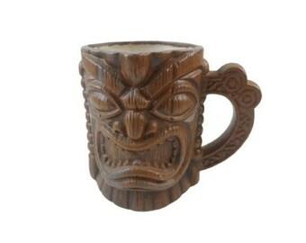 "Tiki Coffee Cup Mug Vintage Large 5"" tall Hawaiian Tiki Face"