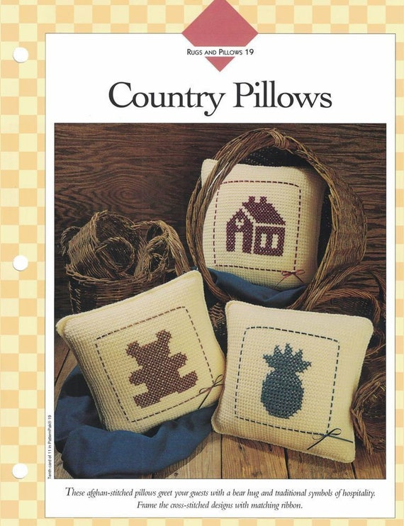 Afghan Stitched Country Pillows Trio Crochet Single Pattern Etsy