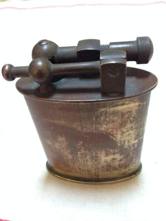 Vintage brass petrol table lighter