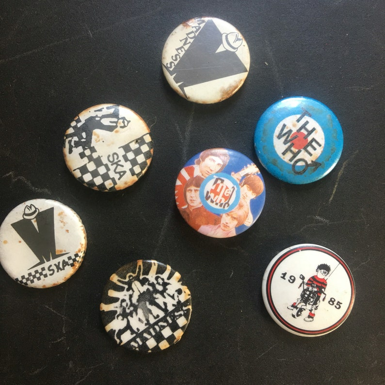 1980s mod ska badges 7 in used and worn condition