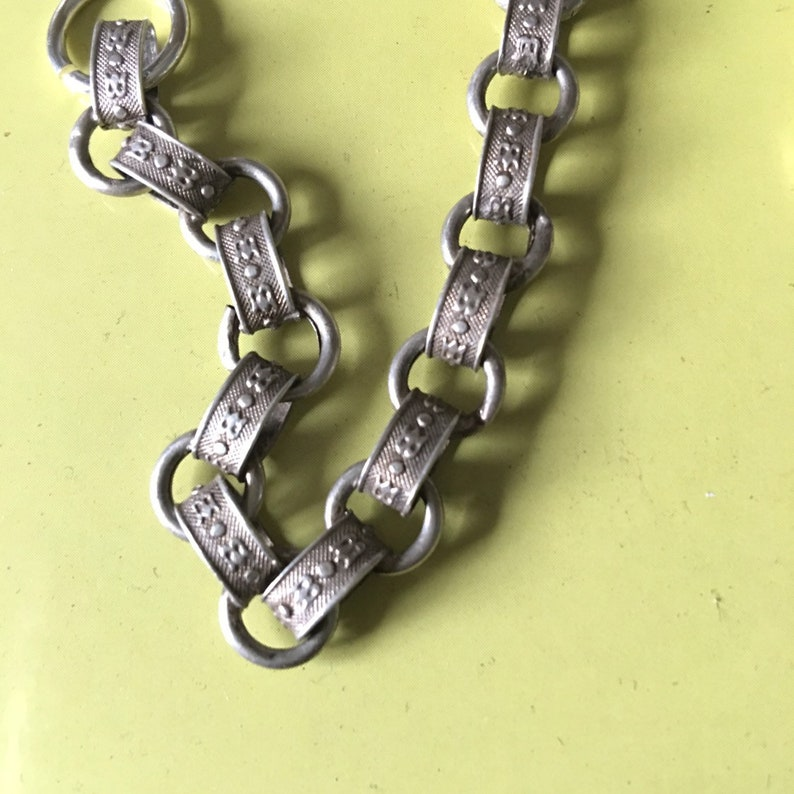 link and ring style Georgian Style silver linked bracelet