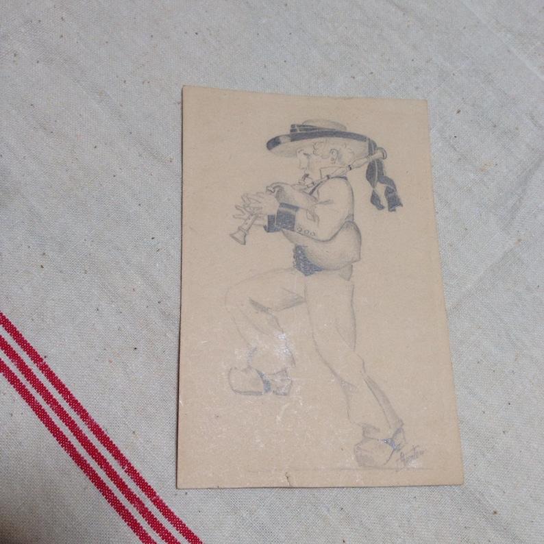 Brittany sailor boy pencil drawing