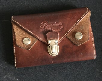 Vintage Leather Wallet / pouch made in Portugal beautiful leather / suede. Three pocket pouch design