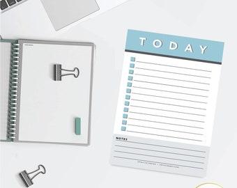 Blue Minimalist Daily Checklist Planner Notepad