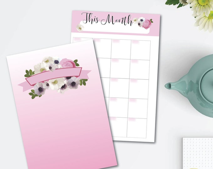 Featured listing image: Pink Blooms Printable Planner Set - monthly/weekly/hourly - 8.5 x 11 Instant Download