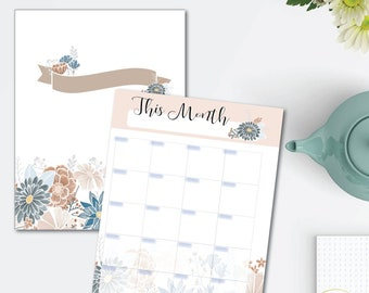 Natural Blooms Printable Planner Set - monthly/weekly/hourly - 8.5 x 11 Instant Download